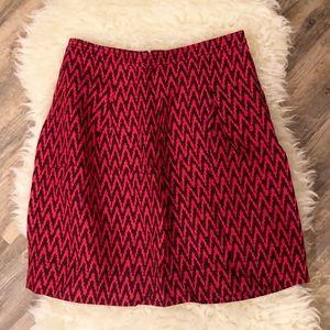 Loft pink printed linen skirt